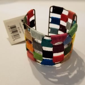 World Finds rainbow woven cuff bracelet. NWT